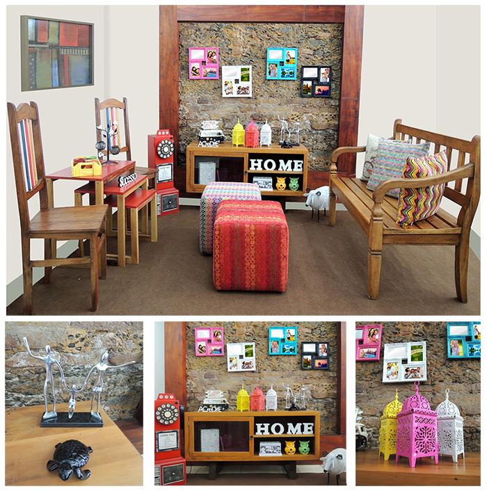 Decoração de sala de estar pequena rustica e colorida com móveis e objetos da Terra Nossa