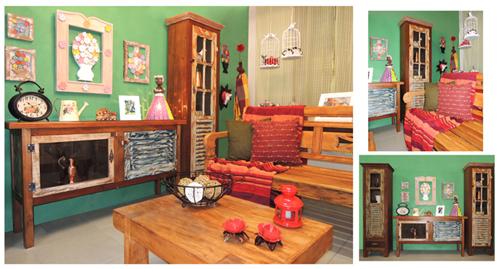 Decoração de sala de estar com móveis e objetos Mineiro