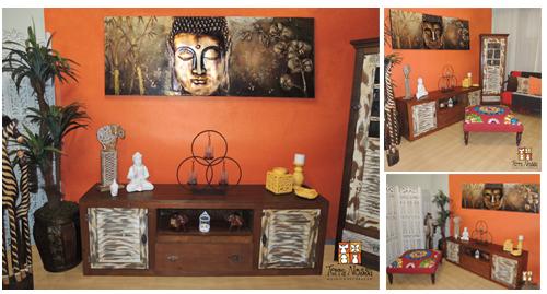 Decoração de Sala de estar, Oriental, Buda, laranja, amarelo, com móveis rústicos e objetos da loja Terra Nossa decoração de sala pequena