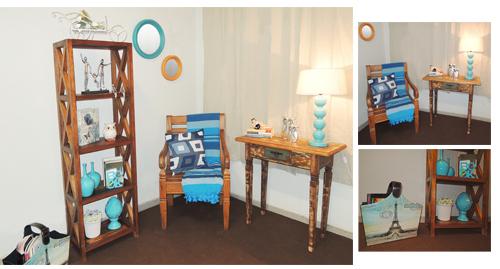Decoração do Canto de leitura na casa, azul, escultura, revisteiro, com móveis e objetos da loja Terra Nossa decoração de sala pequena