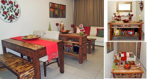 Sala de Jantar e estar, com decoração de Natal. Destaque no Vermelho e rústico decoração de sala pequena