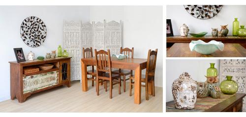 Sala de jantar decorada com objetos e móveis Terra Nossa