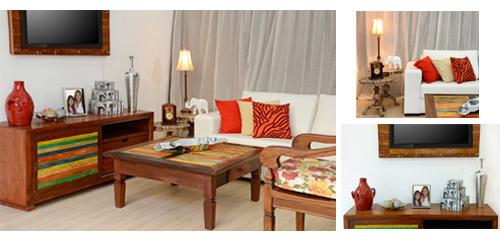 Sala de TV decorada com objetos e móveis Terra Nossa
