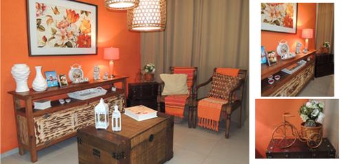 O uso do bau na decoração / sala de estar com tom laranja