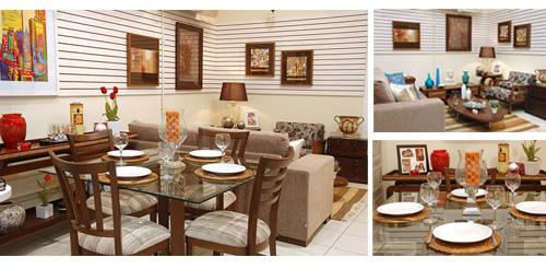 Sala de estar e jantar decorada com objetos e móveis Terra Nossa