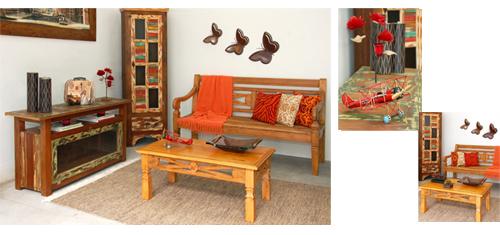 Sala de estar decorada com objetos e móveis Terra Nossa