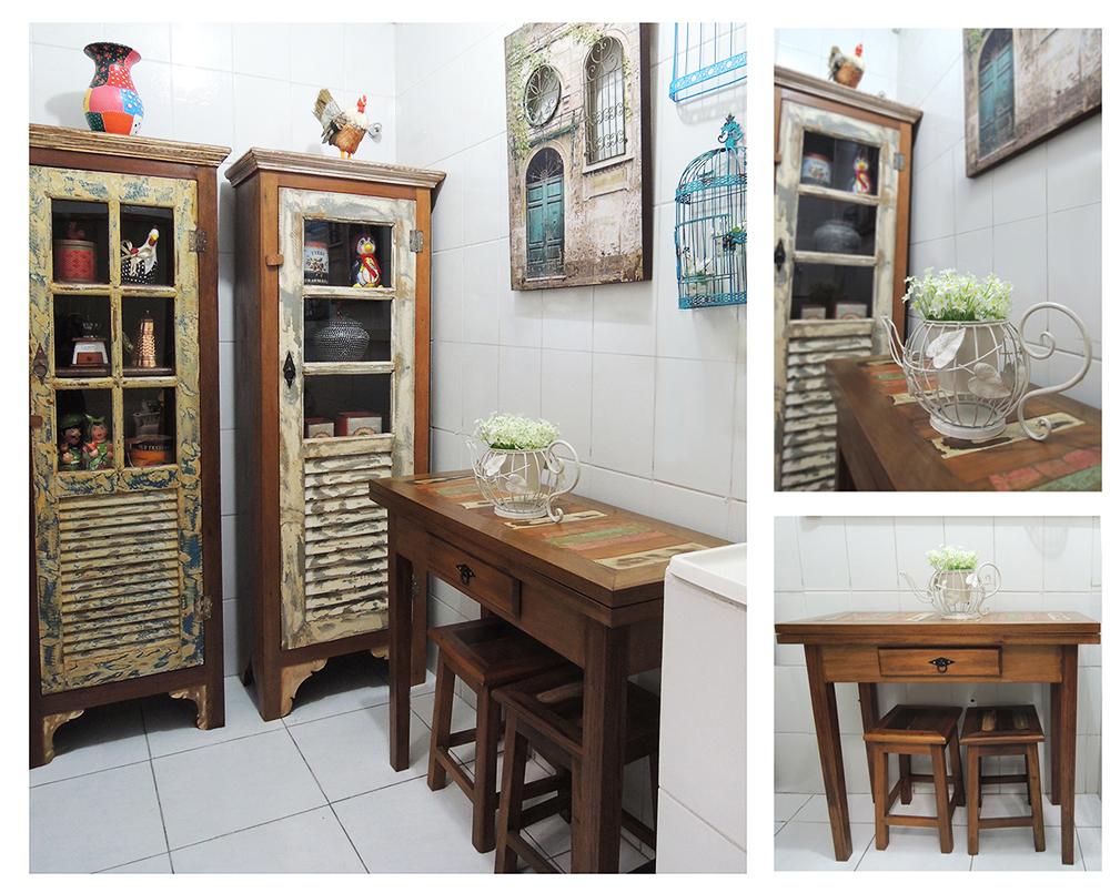 Cozinha Rustica pequena, moveis em madeira de demolição sobre medida