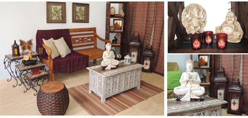 Sala de estar indiano com Buda, lanterna e banco de madeira da loja Terra Nossa