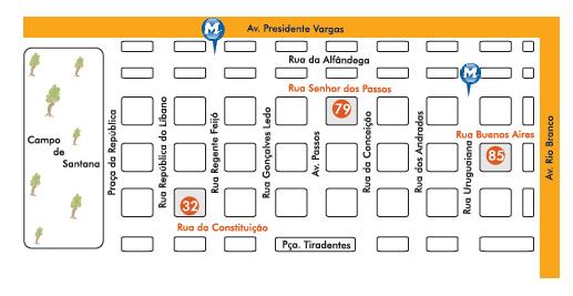 Mapa dos endereços das lojas Terra Nossa Móveis e Decoração