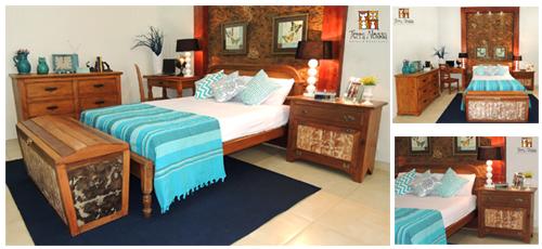 Quarto rústico azul e retro com móveis e objetos da loja Terra Nossa