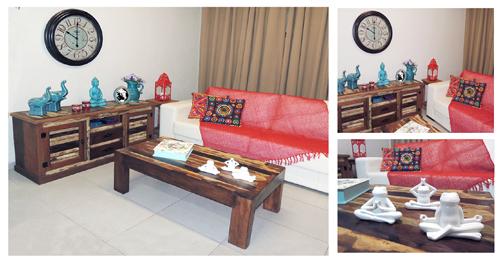 Decoração de Sala de estar Zen, azul e vermelho, com móveis e objetos da loja Terra Nossa