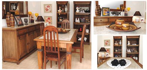 Sala de jantar com móveis e adornos da loja Terra Nossa.