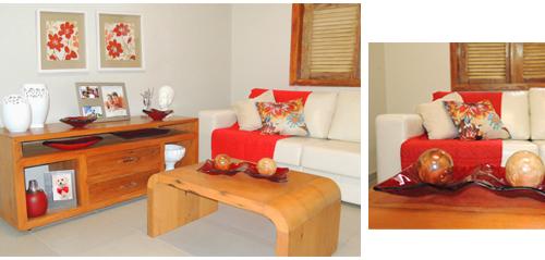 Sala de estar com destaque do vermelho e branco da loja Terra Nossa
