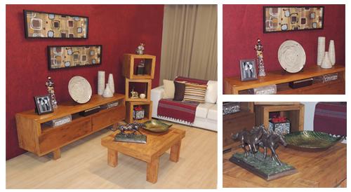 Sala de estar África vermelha com móveis e objetos da loja Terra Nossa