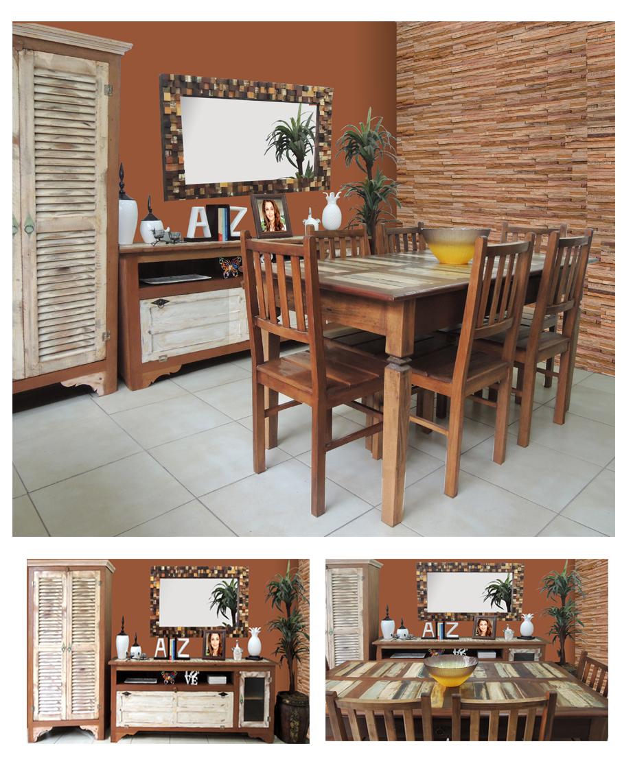 sala de jantar rustica com móvel de madeira de demolição da loja Terra Nossa