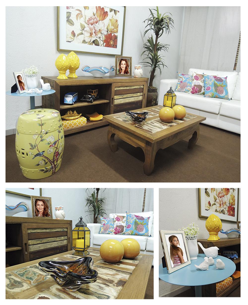 Decoração de sala rustica amarela, com móveis de demolição decoração de sala pequena